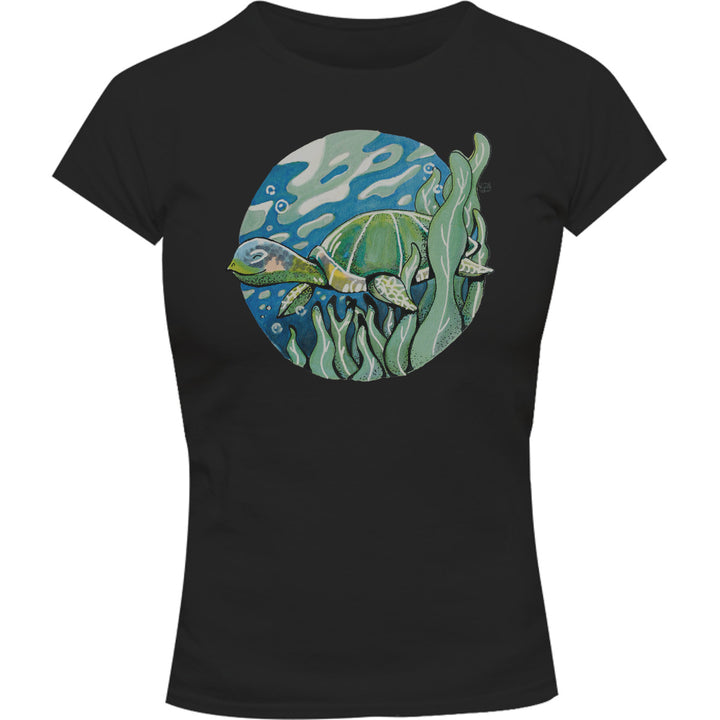 Turtle - Ladies Slim Fit Tee - Graphic Tees Australia