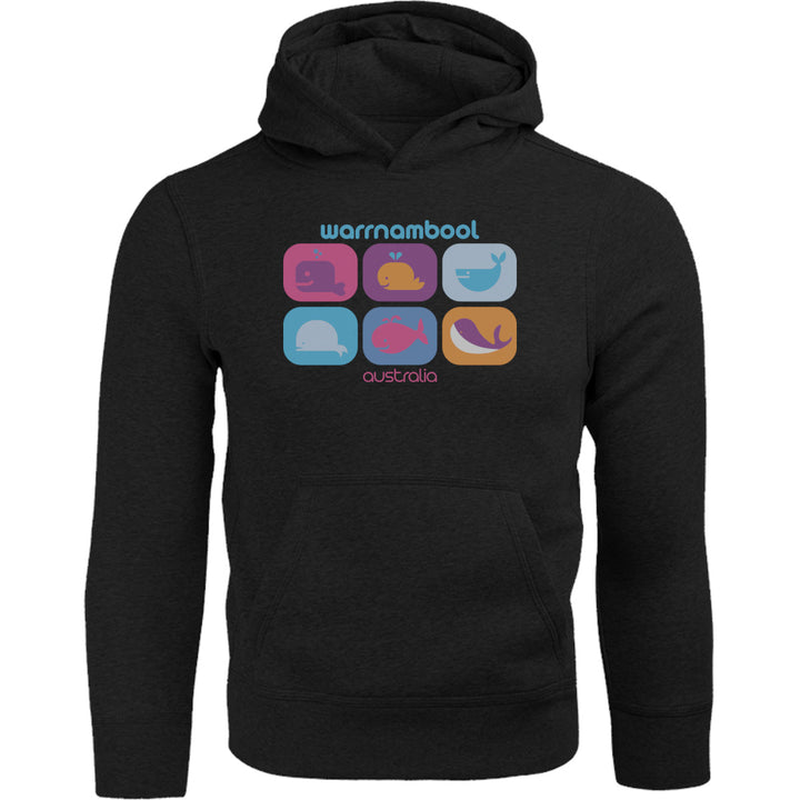 Warrnambool Multicoloured Whales - Adult & Youth Hoodie - Graphic Tees Australia