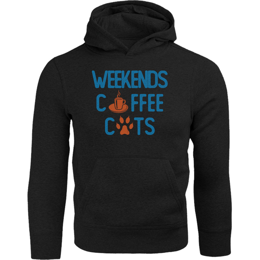 Weekends Coffee Cats GPAWS front & back - Adult & Youth Hoodie