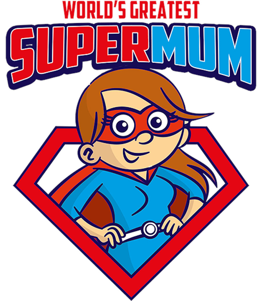 World's Greatest Super Mum - Ladies Relaxed Fit Tee - Graphic Tees Australia