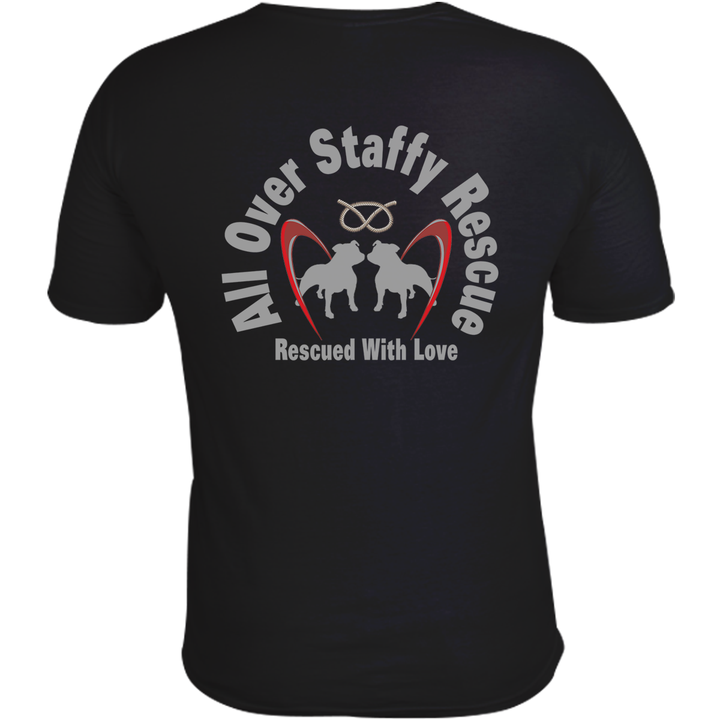 All Over Staffy Rescue - Unisex Tee  - Double Sided - Graphic Tees Australia