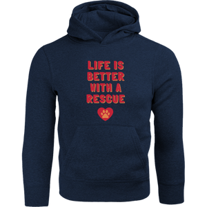 Life Is Better With A Rescue Phoenix Animal Rescue Horsham front & back - Adult & Youth Hoodie