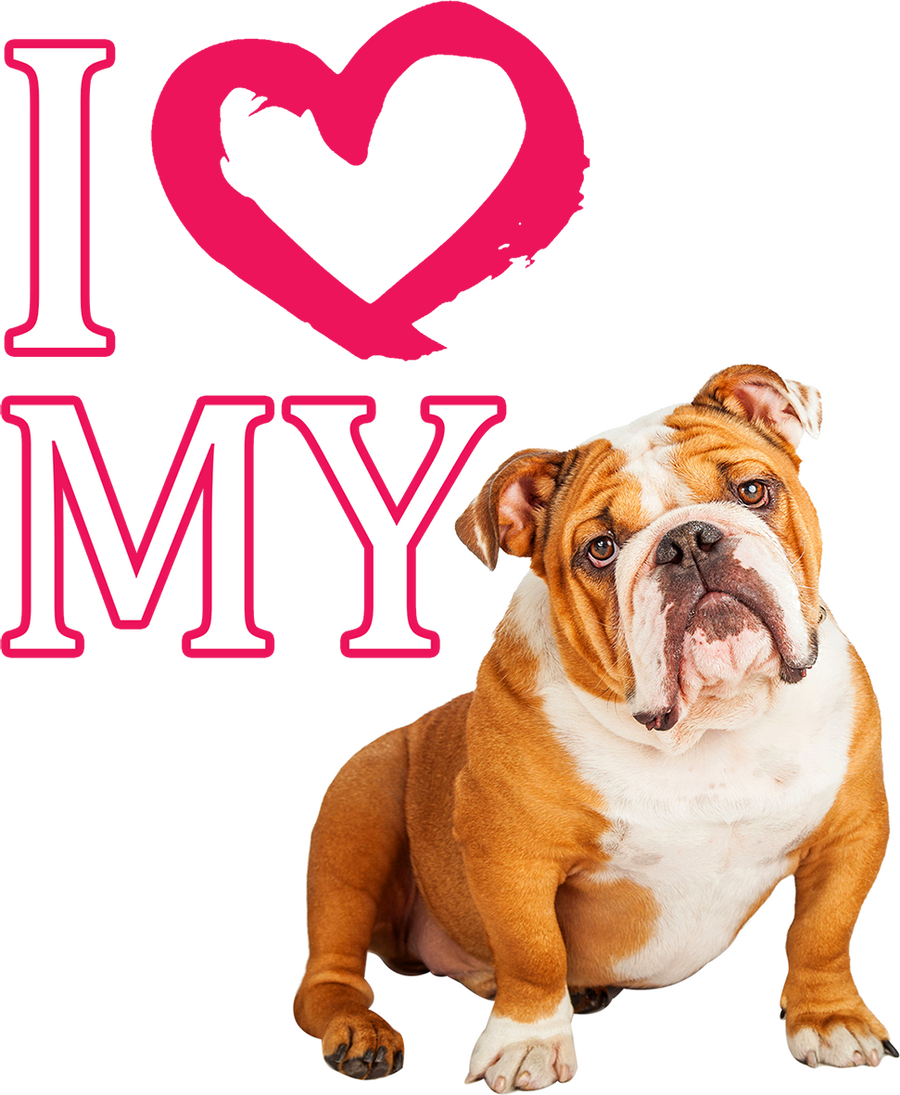 I Love My Bulldog - Ladies Relaxed Fit Tee - Graphic Tees Australia