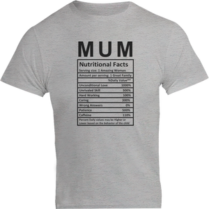 Mum Nutritional Facts - Unisex Tee - Plus Size