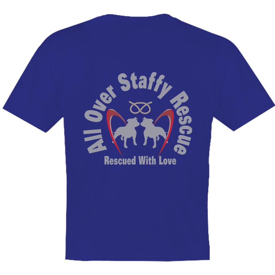 All Over Staffy Rescue - Youth Tee - Double Sided - Graphic Tees Australia