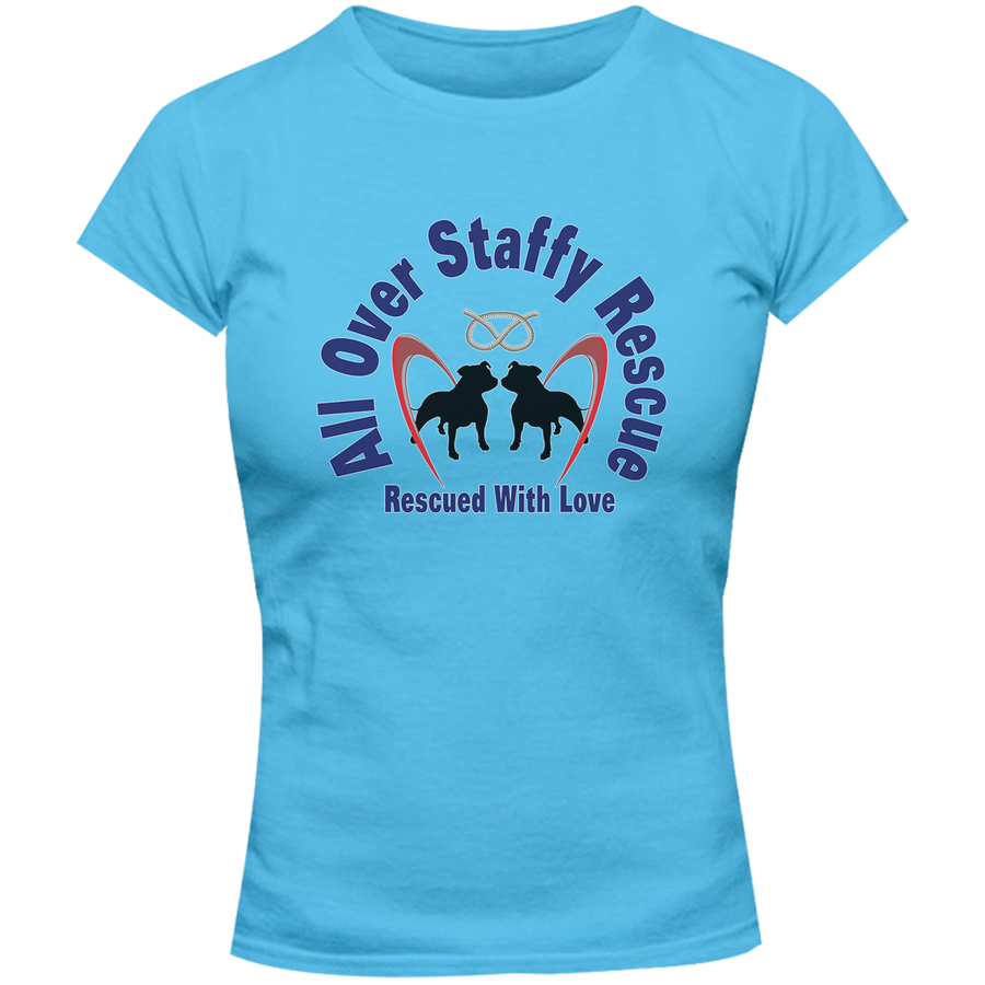 All Over Staffy Rescue - Ladies Slim Fit Tee - Graphic Tees Australia
