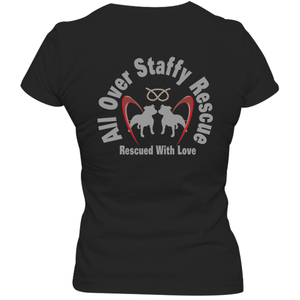 All Over Staffy Rescue - Ladies Slim Fit Tee - Double Sided - Graphic Tees Australia