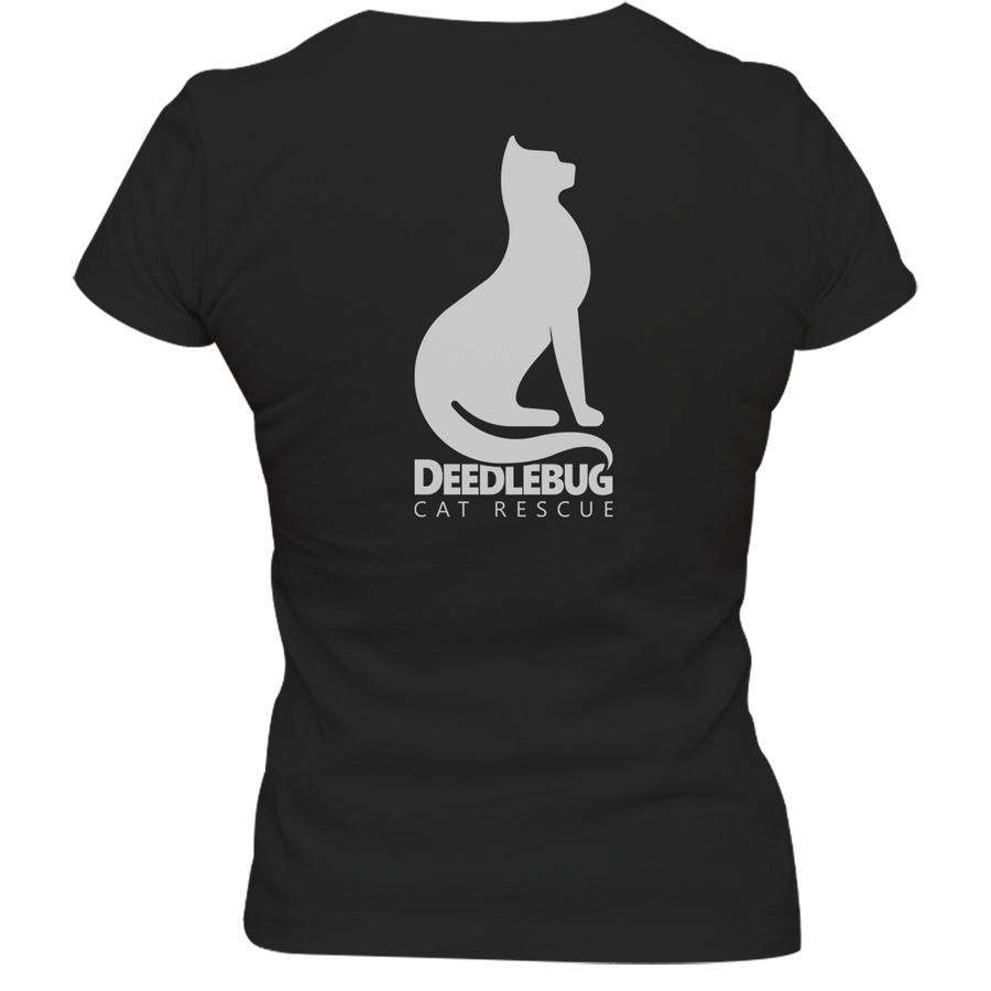 Rescue Is My Kinda Thing Deedlebug Cat Rescue front & back - Ladies Slim Fit Tee
