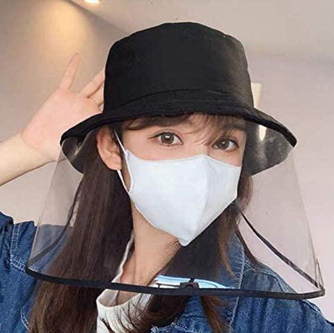 Safety Face Shield Protective Bucket Hat, Anti Spitting and Anti Saliva Fog Dust UV Sun Full Protective Hat Cover Outdoor Fisherman Hat, Adjustable Size for Men and Women