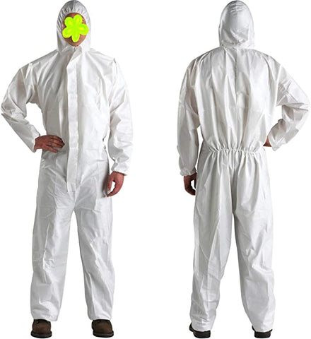 Disposable Protective Coverall with Hood and Elastic Cuffs White SMS Full Body Isolation Suit Safety Work Gowns Clothing