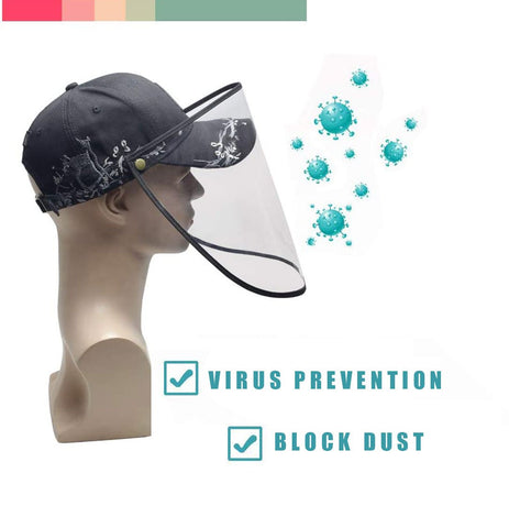 Safty Protective Hat, Removeble Face Mask Full Shield Hat Anti-Spitting Splash Hat Windproof Dustproof Safety Baseball Sun Hat
