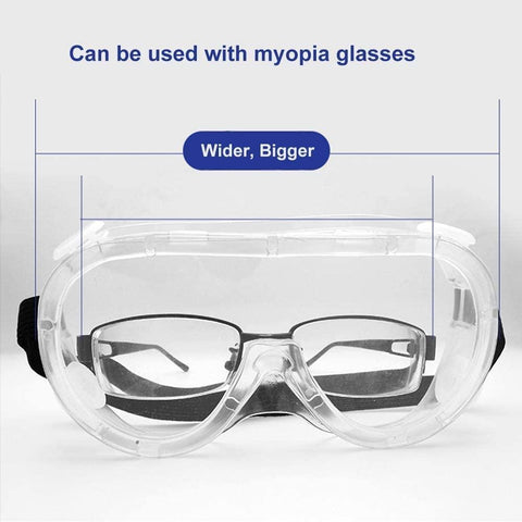 Safety goggles full vision goggles anti-fog anti-saliva eye protection goggles transparent goggles grinding glasses for spectacle wearers laboratory doctor chemistry adult children