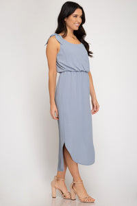 Midi Dress with Shoulder Ties
