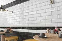 4x12 White Bevelled Subway Tile - Faiola Tile
