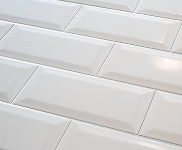 4x8 White Bevelled Subway Tile
