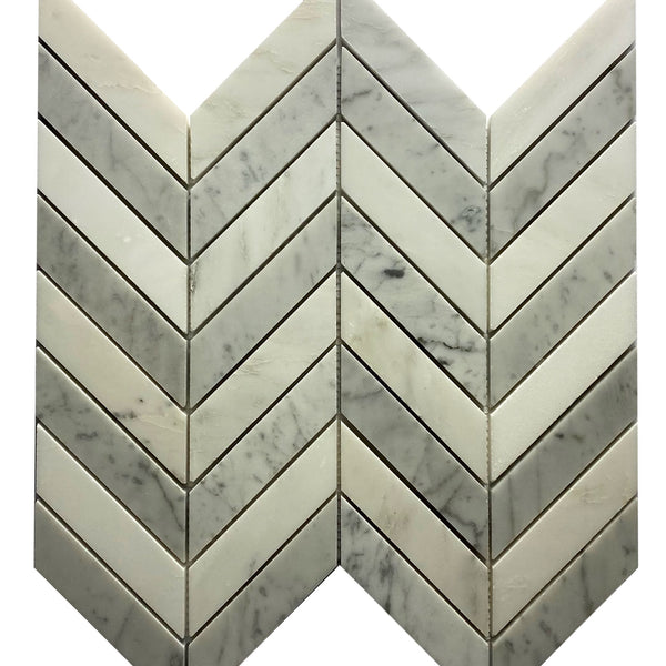 Carrara + Oriental White Chevron