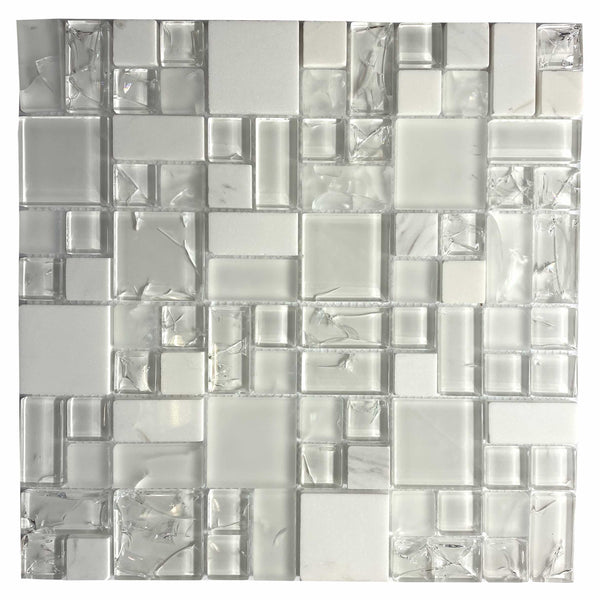 White Crackle Glass Versailles (FA0010)