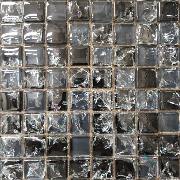 Black Crackle Glass 1x1 - FAOC-5