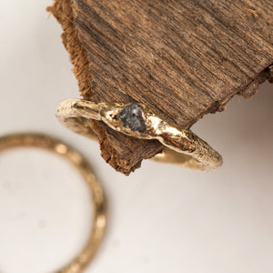 Raw gold ring with rough diamond