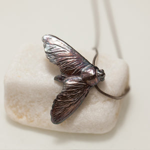 Small Silver Moth necklace