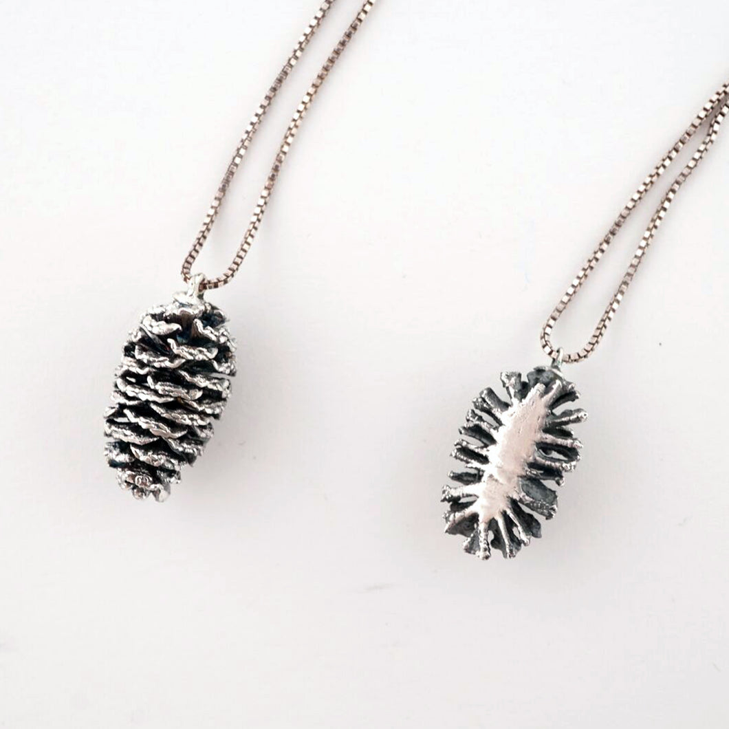 Half silver pinecone necklace