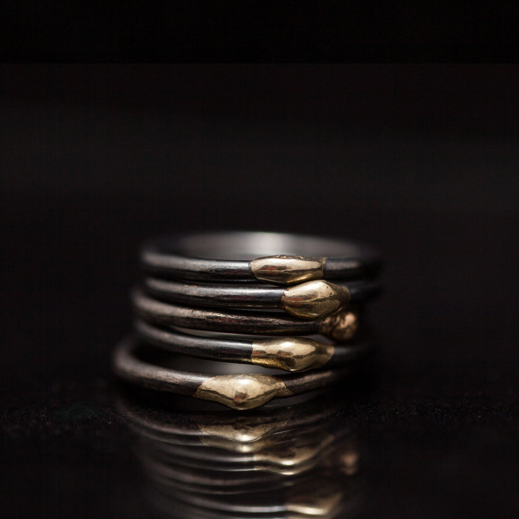Gold nuggets rings