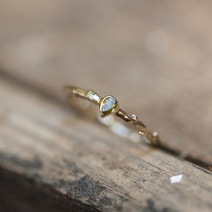 Pear cut diamond branch ring