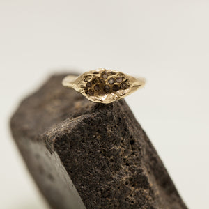 Rough brown diamonds raw concave ring