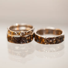 Load image into Gallery viewer, Deep raw silver & gold ring