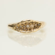 Load image into Gallery viewer, Brown diamonds raw concave ring