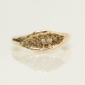 Brown diamonds raw concave ring