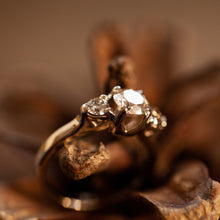 Load image into Gallery viewer, Tri-stone champagne diamond ring