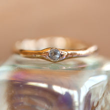 Load image into Gallery viewer, Raw gold ring with faceted aquamarine