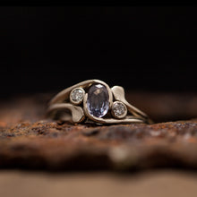 Load image into Gallery viewer, Unique tri-stone engagement ring