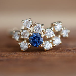 White diamonds & sapphire cluster ring