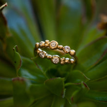 Load image into Gallery viewer, Raw bubbley gold ring with 3 diamond