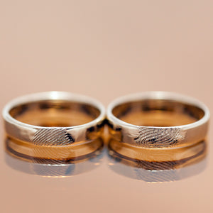Finger prints wedding gold rings