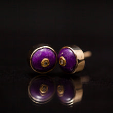 Load image into Gallery viewer, Sugilite gold earings