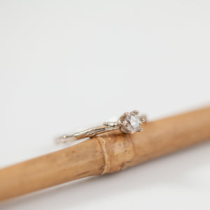 Champagne diamond white gold branch ring