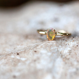 Mexican opal branch ring