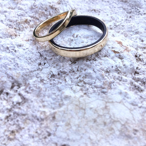 Wood & gold wedding rings