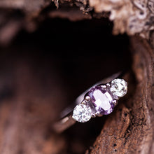 Load image into Gallery viewer, Tri-stone purple sapphire engagement