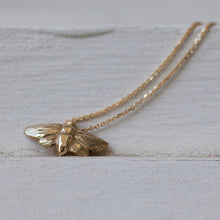 Load image into Gallery viewer, Small 14k gold Moth necklace