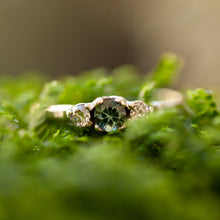 Load image into Gallery viewer, Tri-stone bi-color sapphire engagement