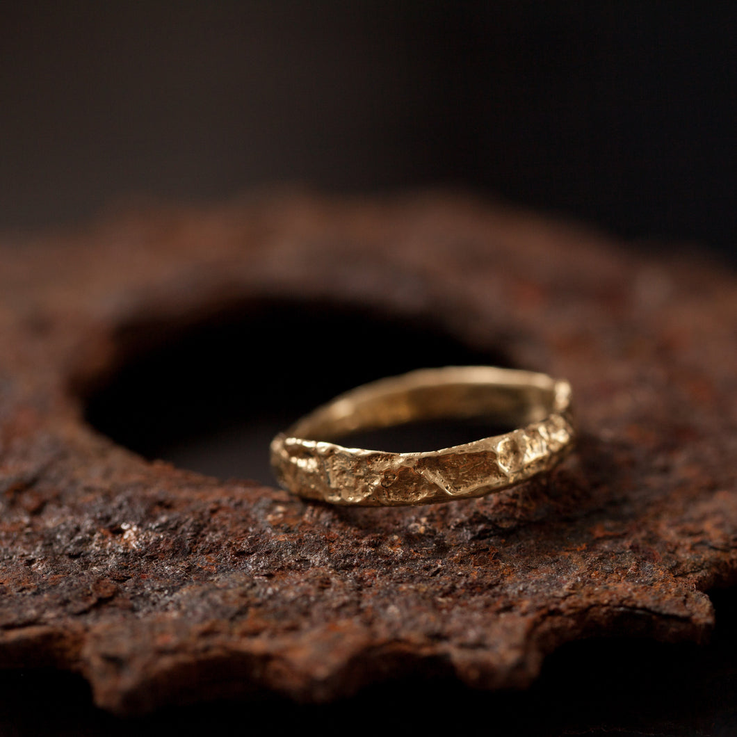 Super rough raw gold ring