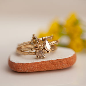 Champagne diamond branch rings