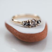 Load image into Gallery viewer, Meteorites & a diamond tri-stone ring