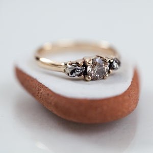 Meteorites & a diamond tri-stone ring