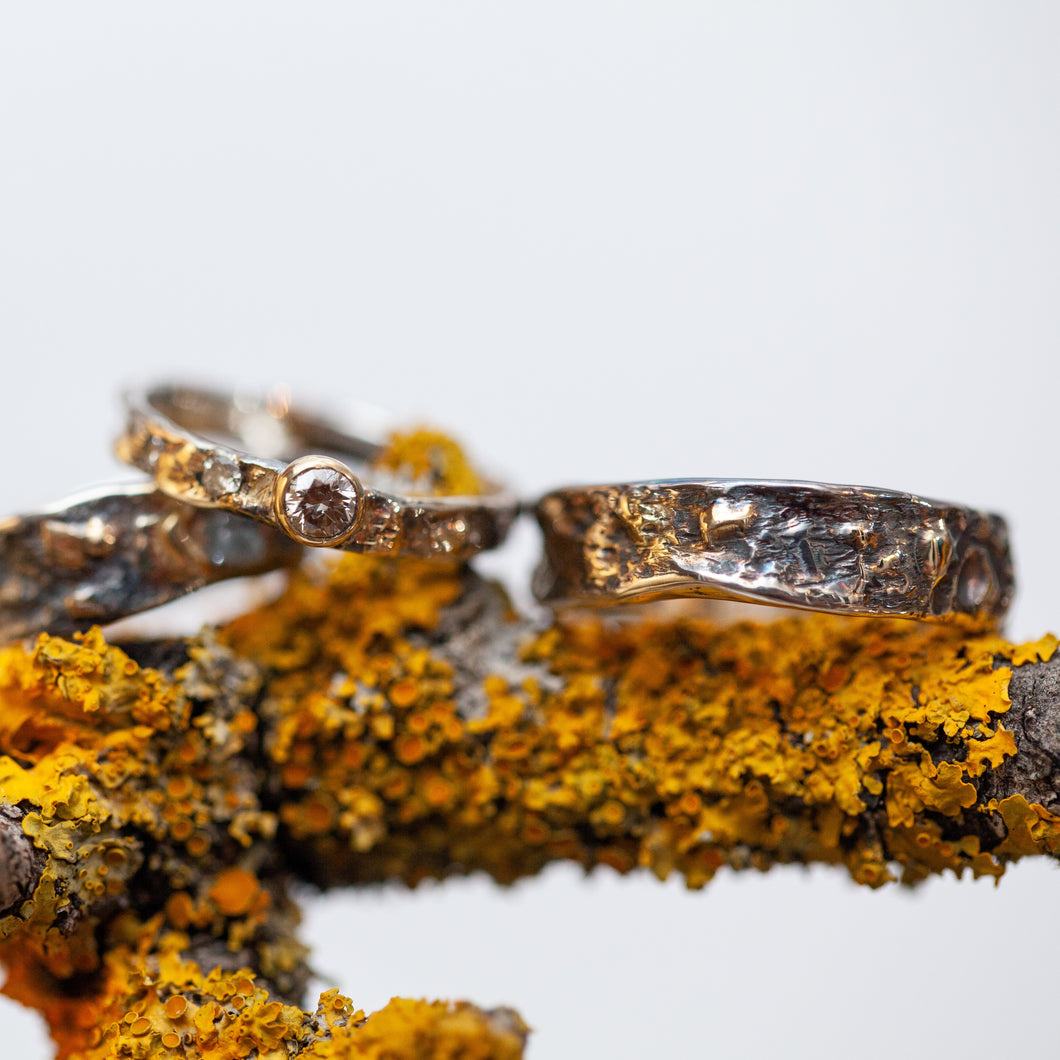 Deep raw silver & gold ring