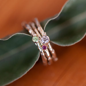 3 colorful gems branch ring